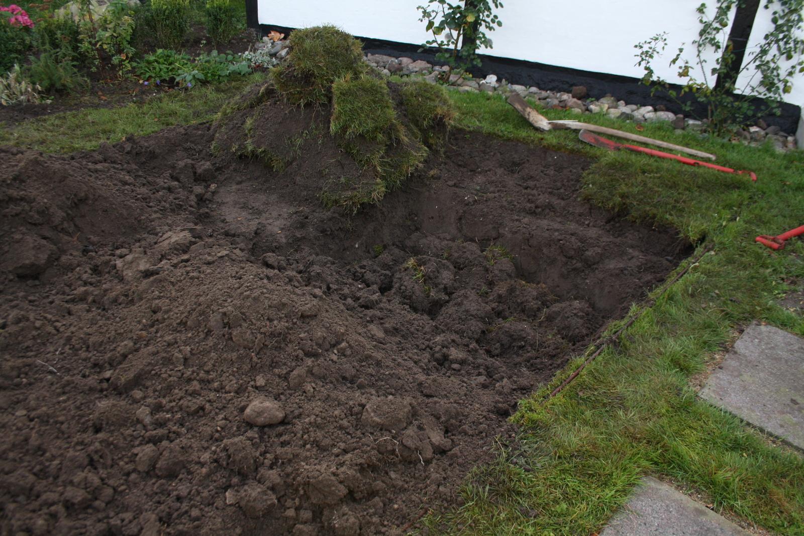 Græs graves ned